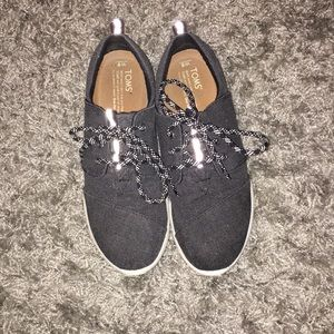 TOMS Del Rey Canvas Sneakers, Charcoal Grey Size 8